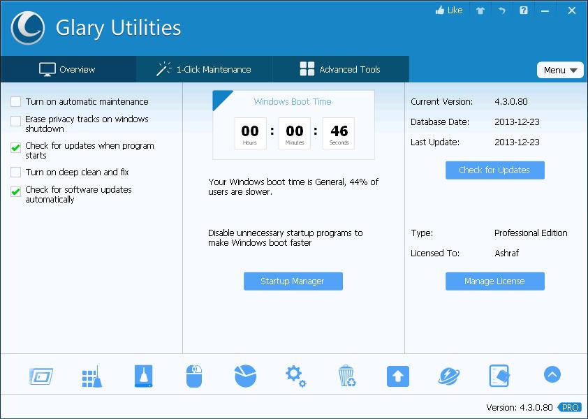 Glary Utilities Pro gratuit (100% de réduction)$ 39,95 Gratuit ! 2013-12-24_155442