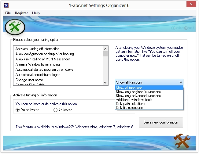 1 abc net settings organizer - 1-abc.net Settings Organizer (48 Saat Kampanya)